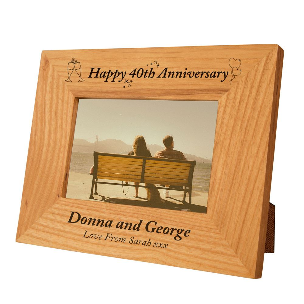 Wedding Gift Photo Frame: Personalised 40th Anniversary Engraved Photo Frame, Ruby