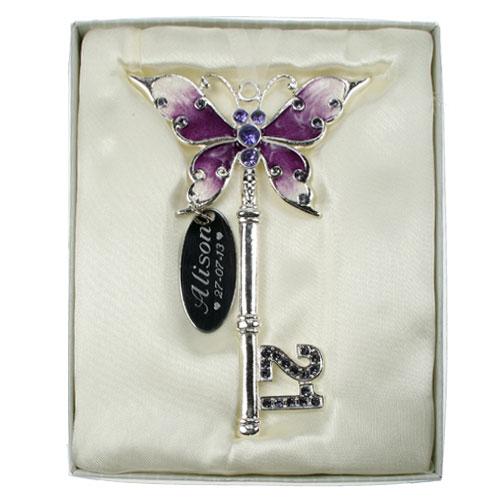 Birthday Present For My Girlfriends 21 St Birthday 21: Engraved 21st Birthday Lilac Key For A Girl 21st Birthday