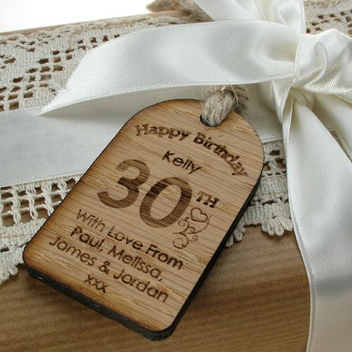 Engraved 30th Birthday Gift Quirky Vintage Label Tag 30th