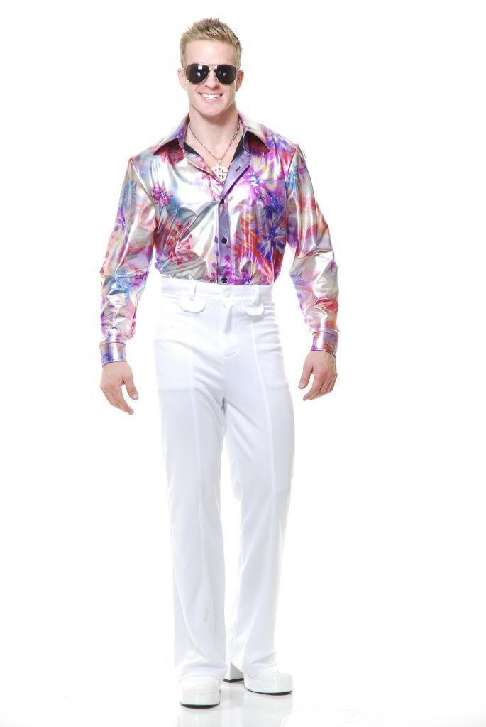 chemise disco 70s motif fleur d guisement costume adulte hommes ebay. Black Bedroom Furniture Sets. Home Design Ideas