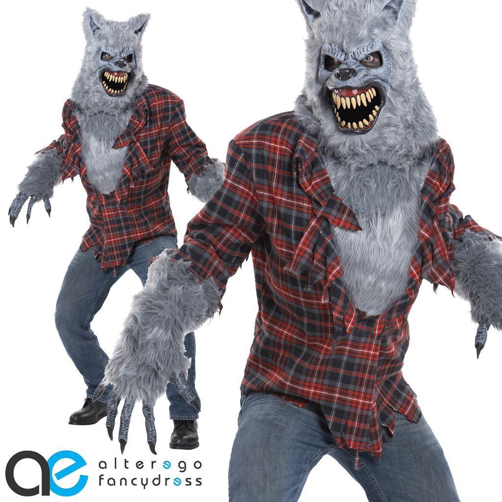 grau werwolf werwolf ani motion halloween kost m erwachsene herren verkleidung ebay. Black Bedroom Furniture Sets. Home Design Ideas