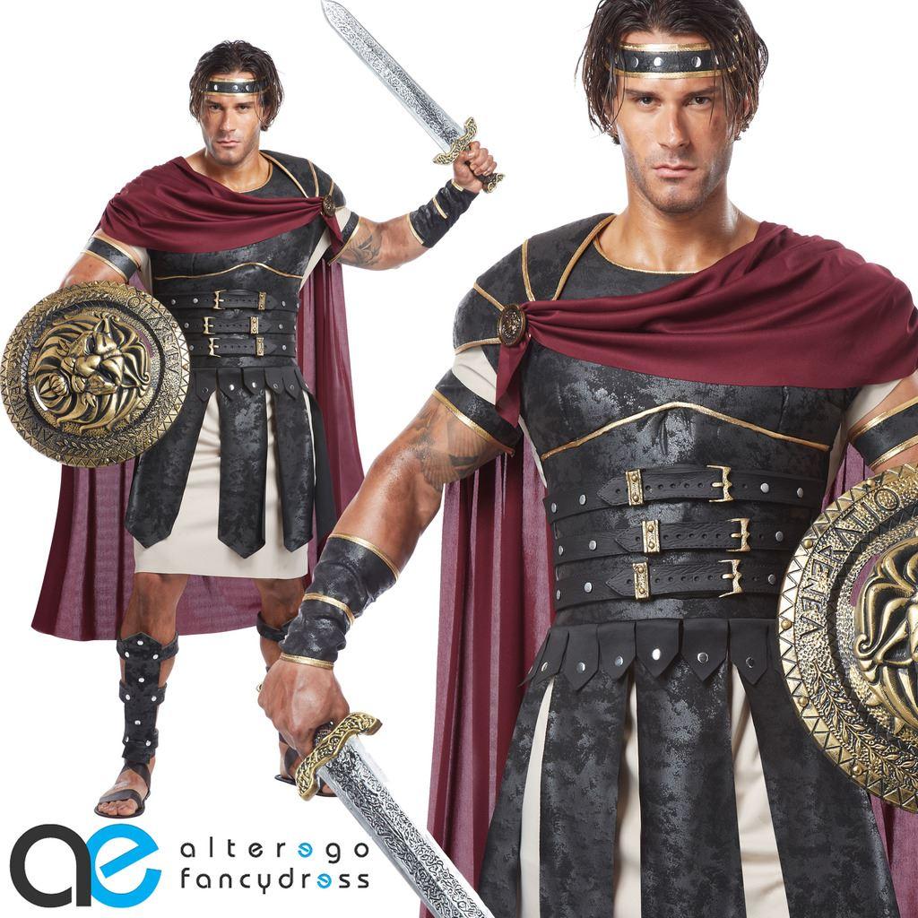 Details about roman gladiator mens fancy dress costume spartan warrior