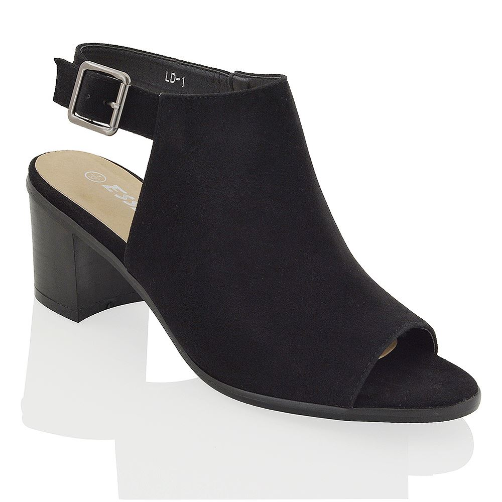 Black Suede Peep Toe Shoe Boots