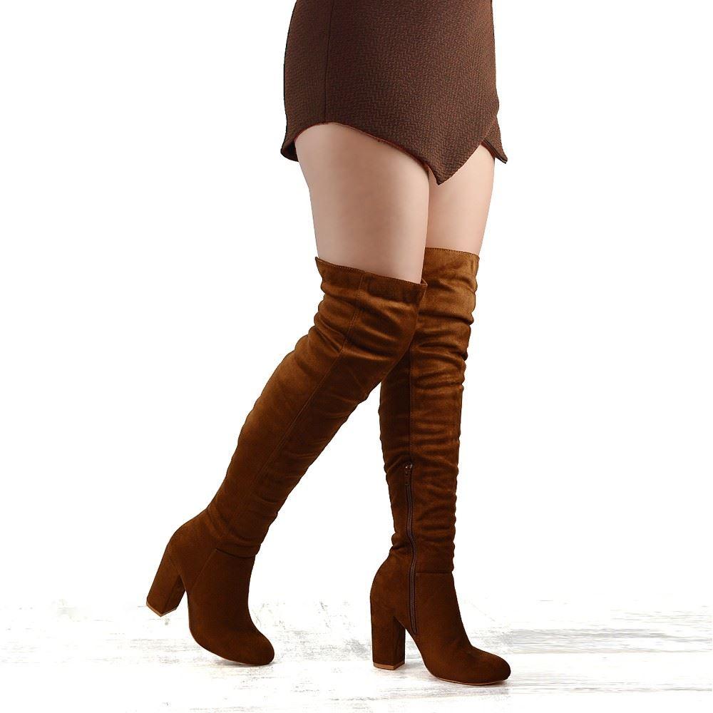 new womens the knee high block heel cut
