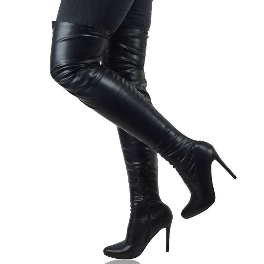 WOMENS THIGH HIGH STILETTO HEEL LADIES CALF STRETCH PARTY OVER THE KNEE BOOTS