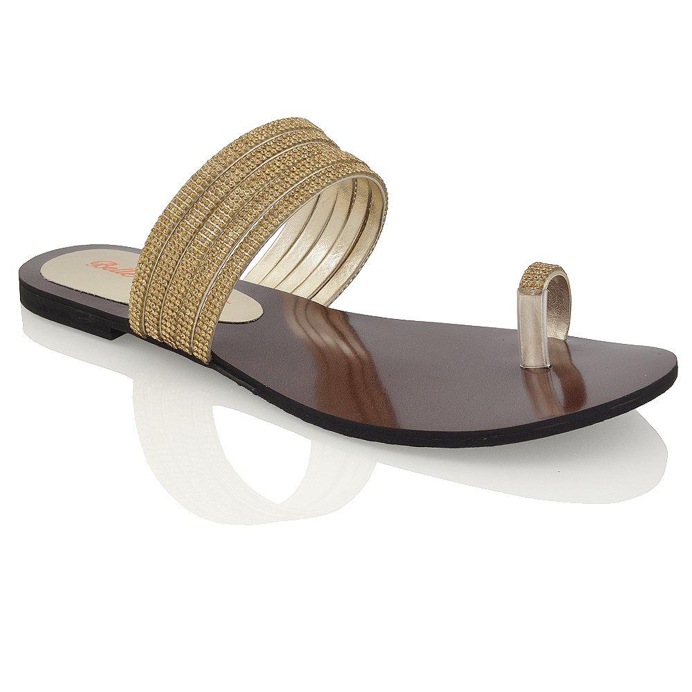 Womens Flat Toe Post Diamante Strappy Sandals Ladies Slip