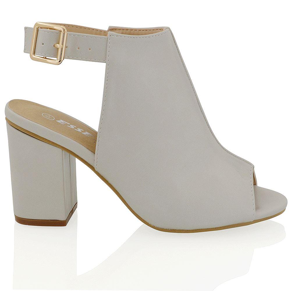Open Toe Lace Block Heel Shoe