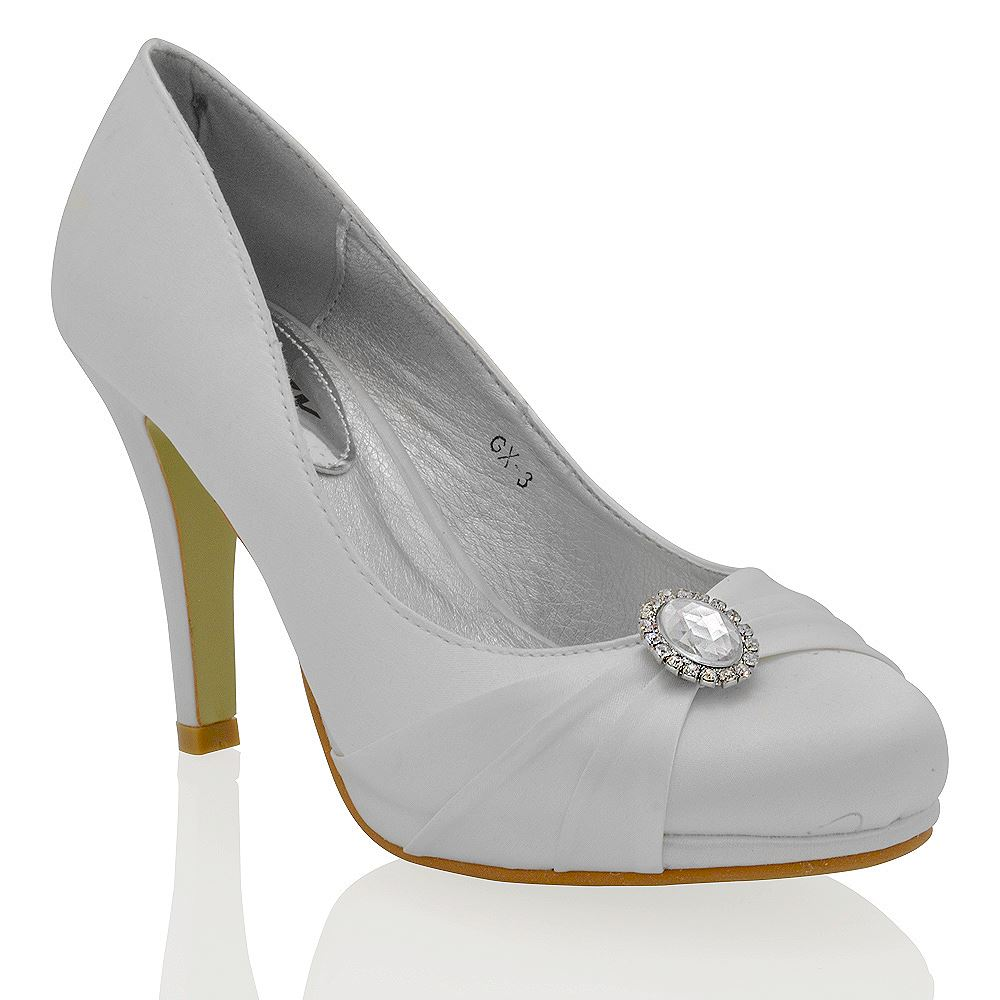 WOMENS BRIDAL HIGH HEEL PLATFORM DIAMANTE LADIES SLIP ON EVENING COURT SHOES | EBay