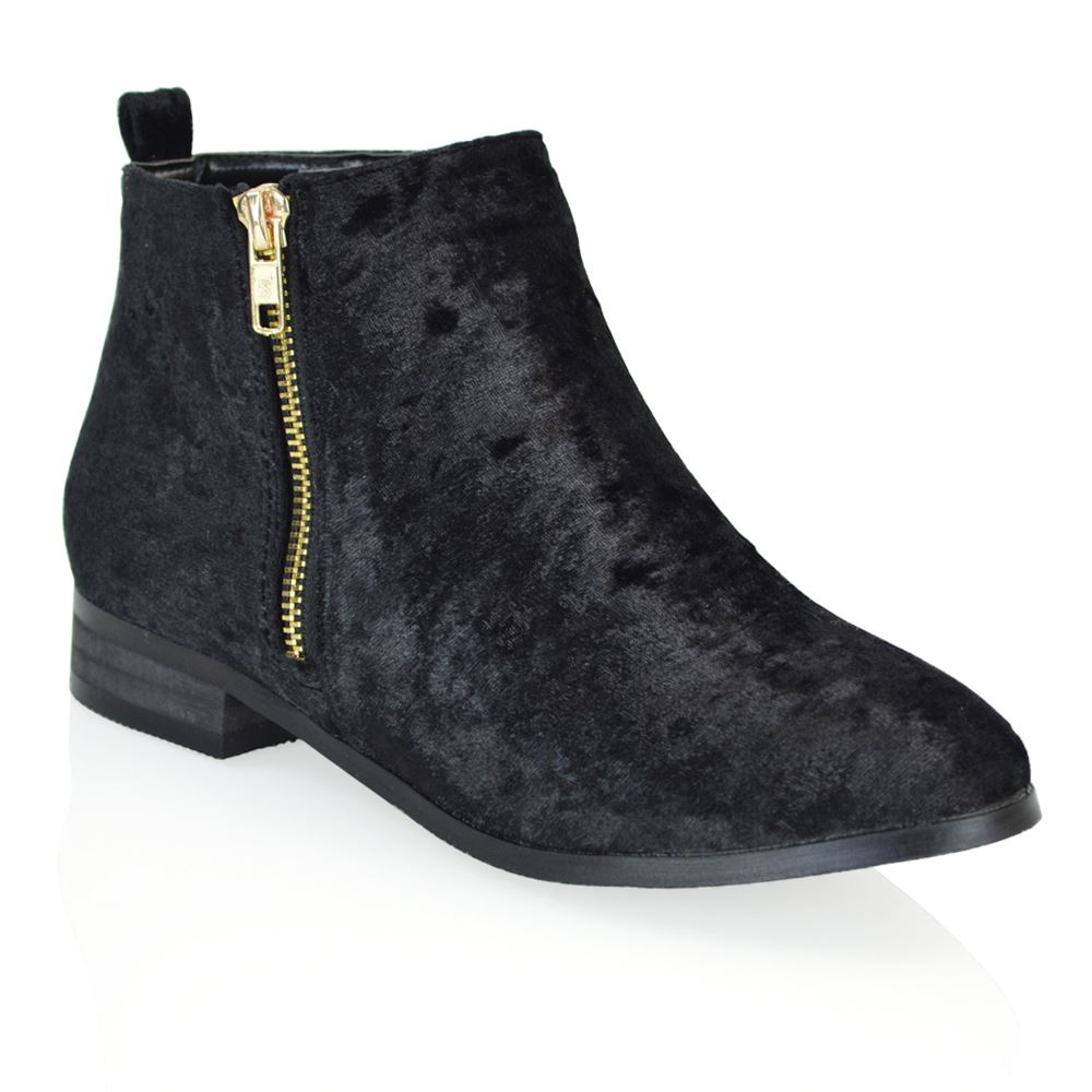 Cool Womens Black Flat Ankle Boots - Yu Boots