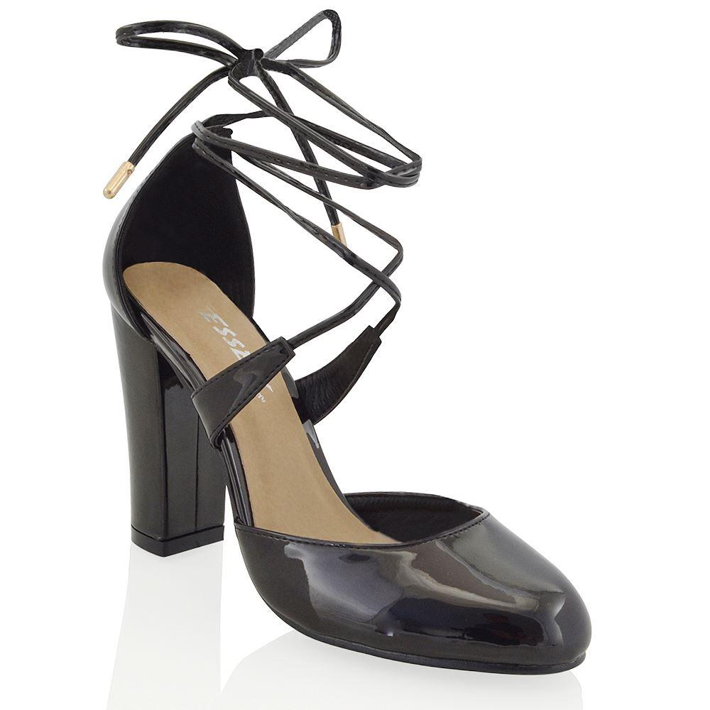 Mujer Encaje Bloque Talón Tobillo Damas Tie wrpa Tribunal Zapatos Sandalias De Tiras