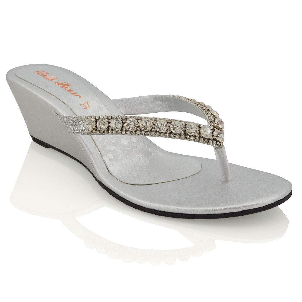 womens wedge heel sandals sparkly diamante ladies flip. Black Bedroom Furniture Sets. Home Design Ideas