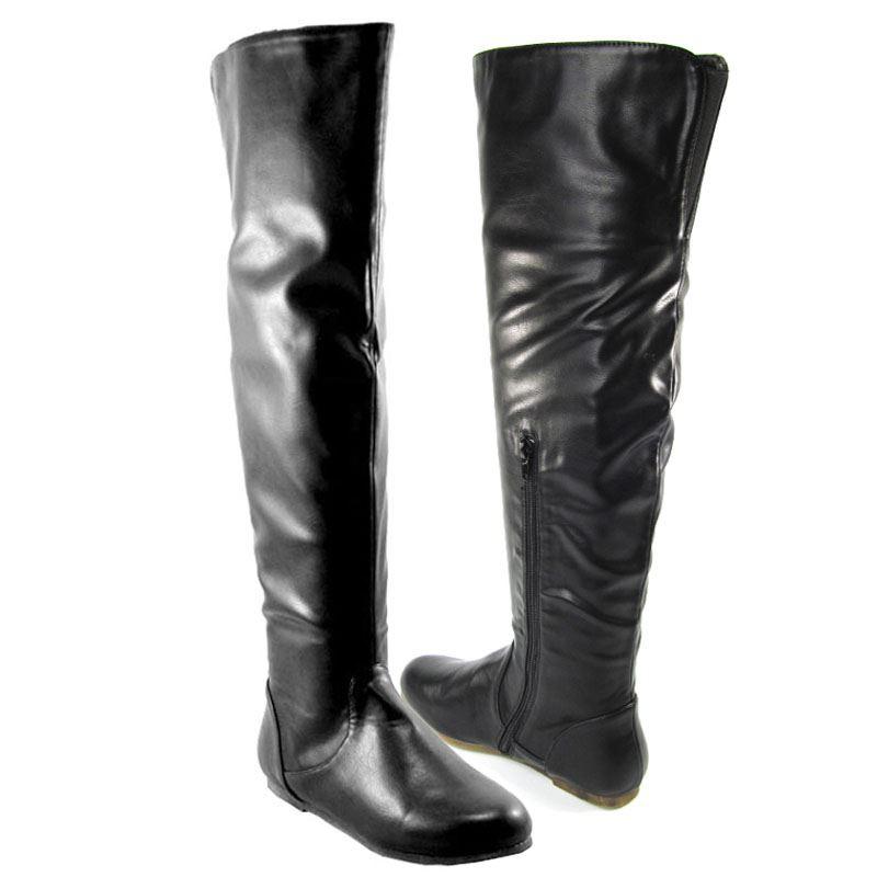 new womens black the knee high flat thigh high
