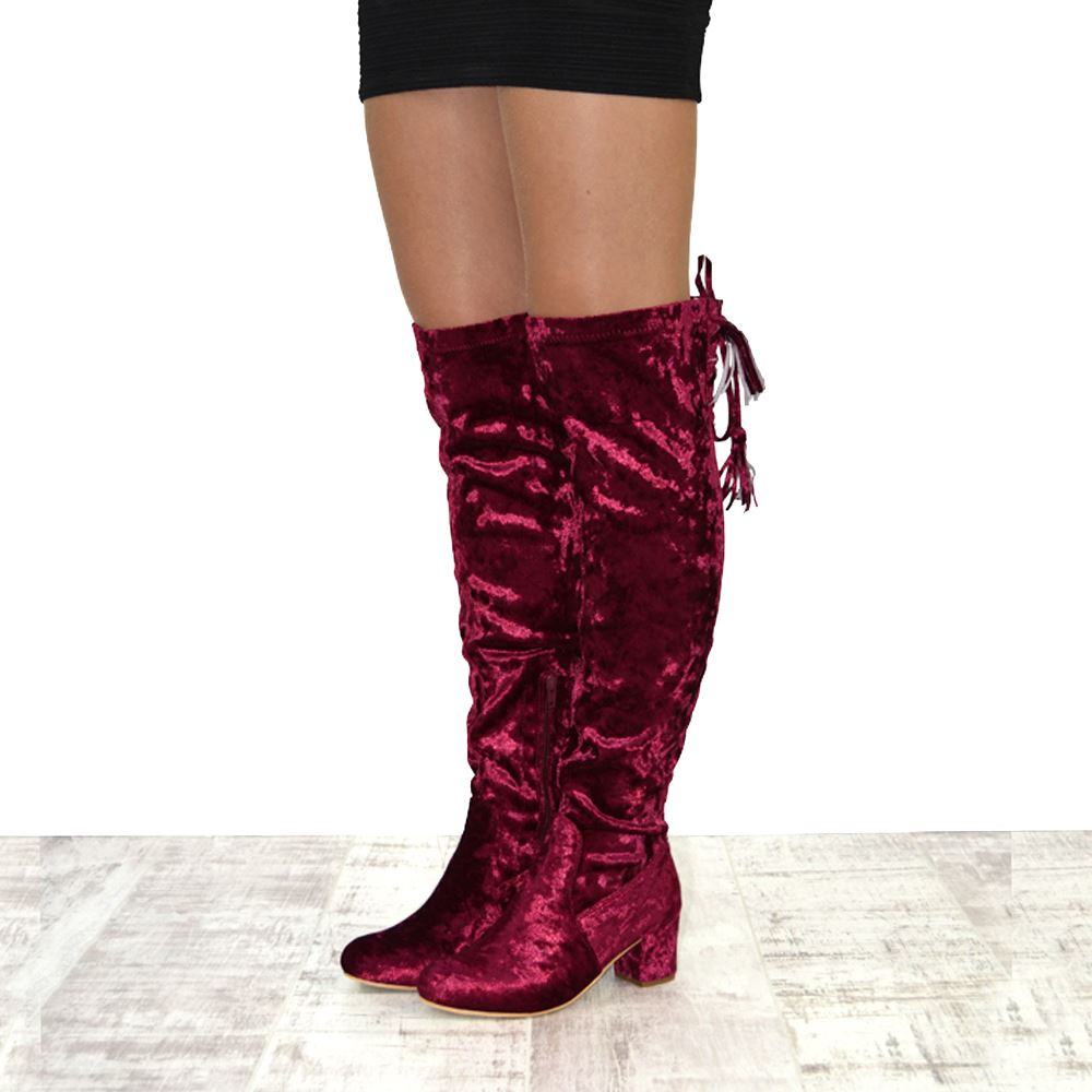 womens thigh high velvet lace up low heel the