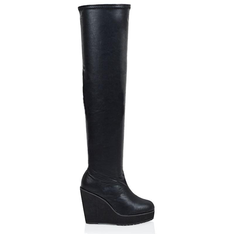 womens the knee high platform wedge black