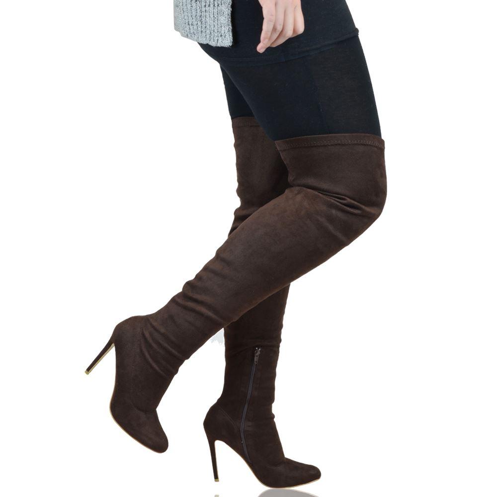 womens thigh high stiletto heel calf stretch