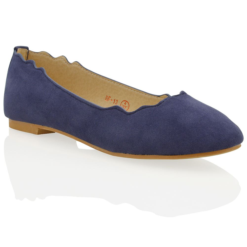 WOMENS FLAT DOLLY BALLET LADIES SLIP ON FAUX SUEDE BALLERINA CASUAL PUMPS SHOES | EBay