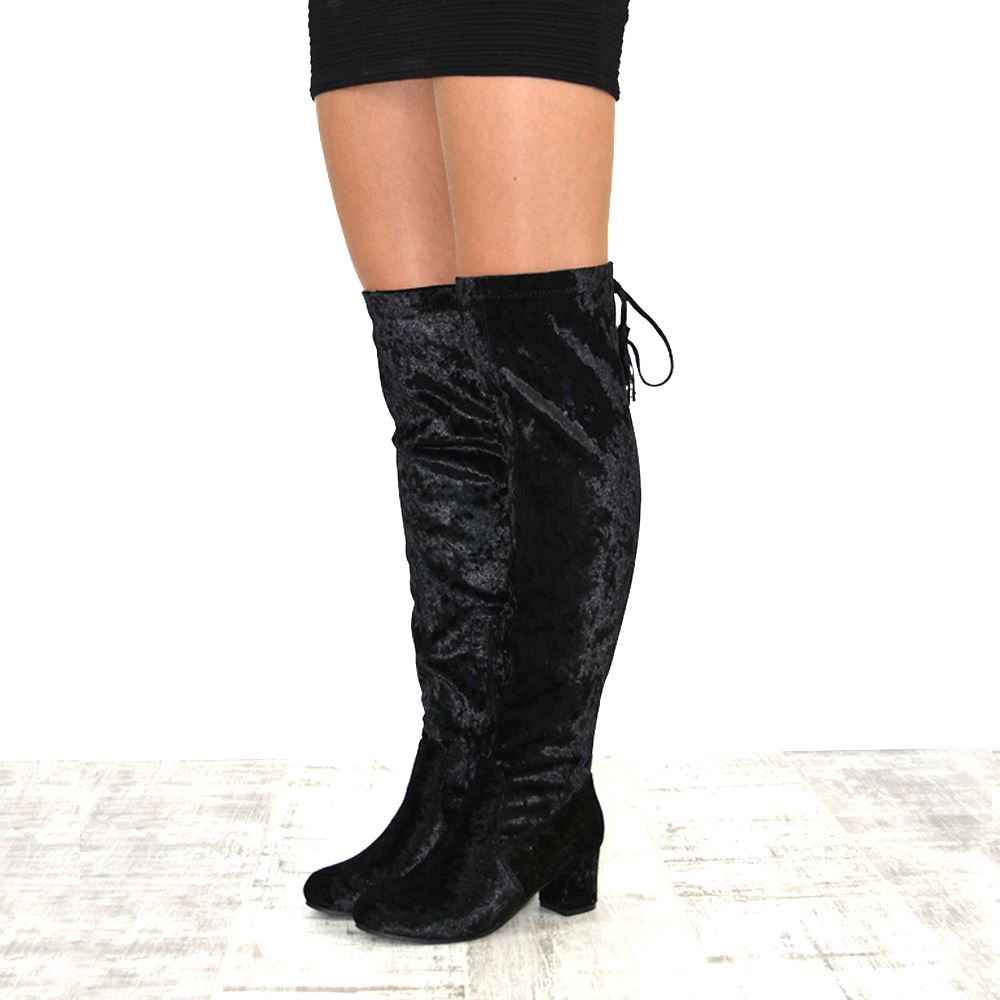 Womens Thigh High Velvet Lace Up Ladies Low Heel Over The