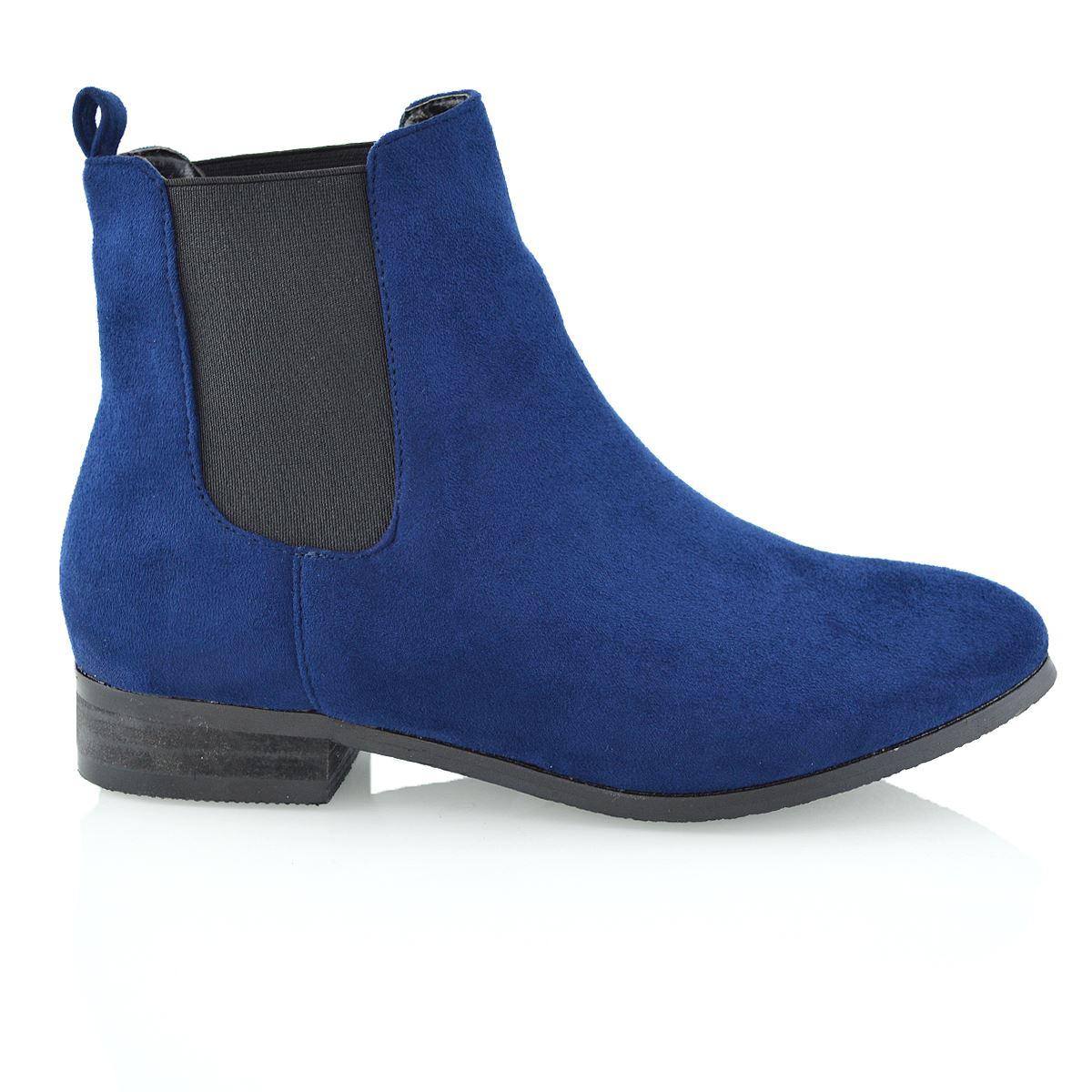 new womens chelsea block heel faux suede elastic