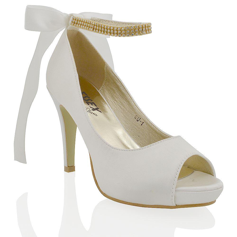 Ivory And Diamante Peep Toe Wedding Shoes