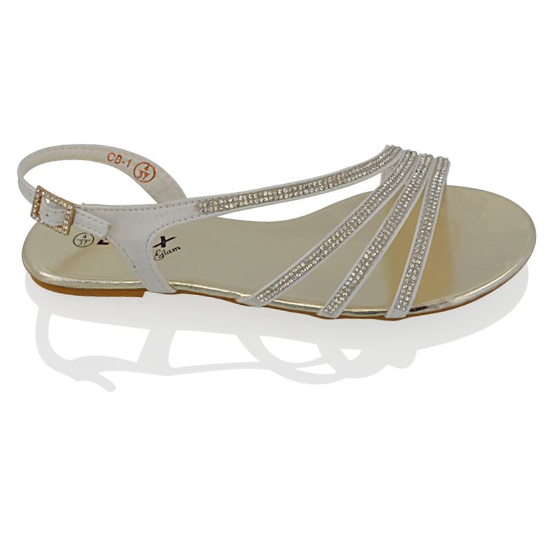 WOMENS FLAT DIAMANTE STRAPPY SANDALS LADIES SPARKLY BRIDAL PROM PARTY SHOES SIZE | EBay