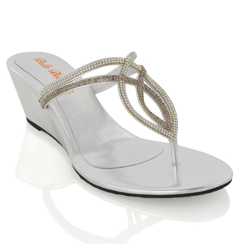 Womens Low Heel Wedge Diamante Toe Post Ladies Sparkly Dressy Party Sandals 3-9