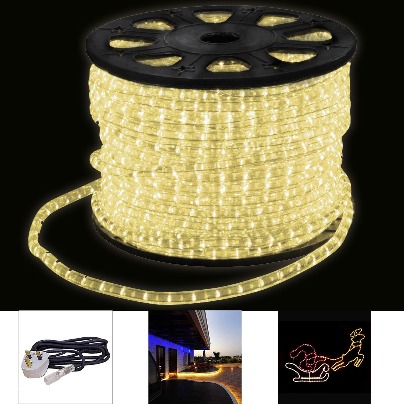 Indoor Outdoor Led Light Strip: LED Strip Commercial Party Rope Lights Christmas IP67