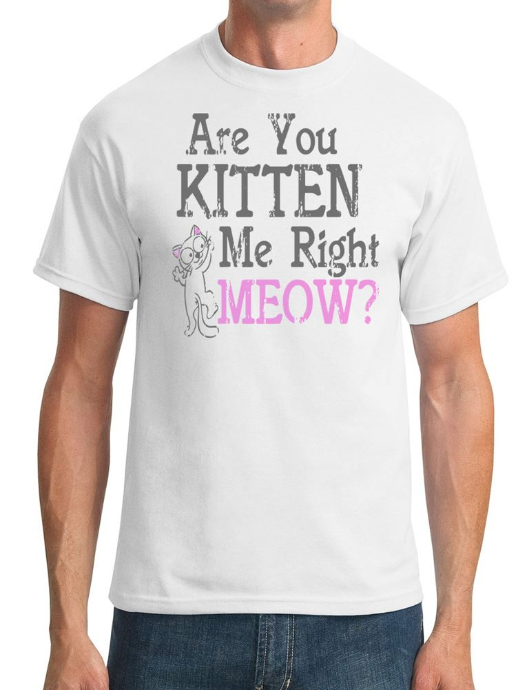 Are You Kitten Me Right - Meow - Funny Cat Lover - Mens T-Shirt