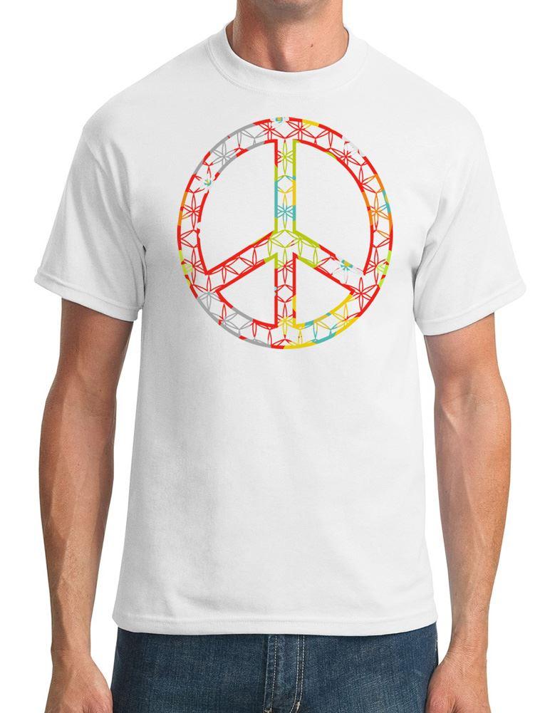 Floral Peace Sign Cnd Mens T Shirt Ebay