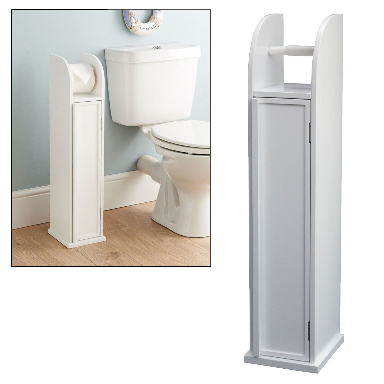 free standing white storage cabinet toilet roll holder