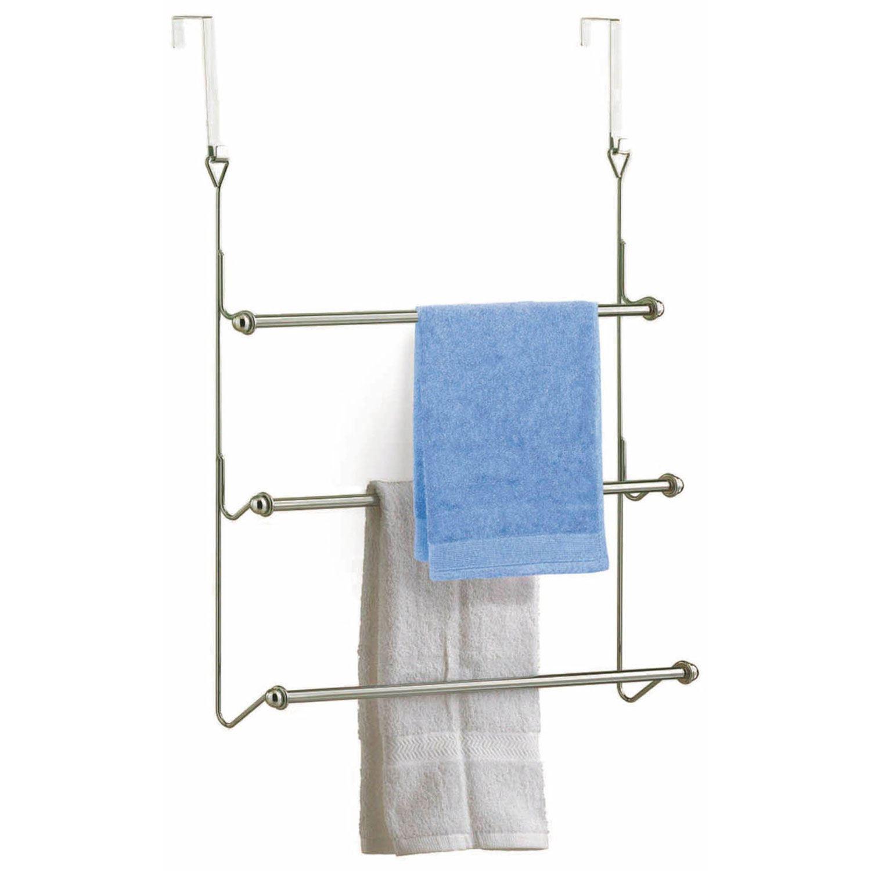 3 Tier Chrome Over Door Towel Rail Rack Hanger Holder