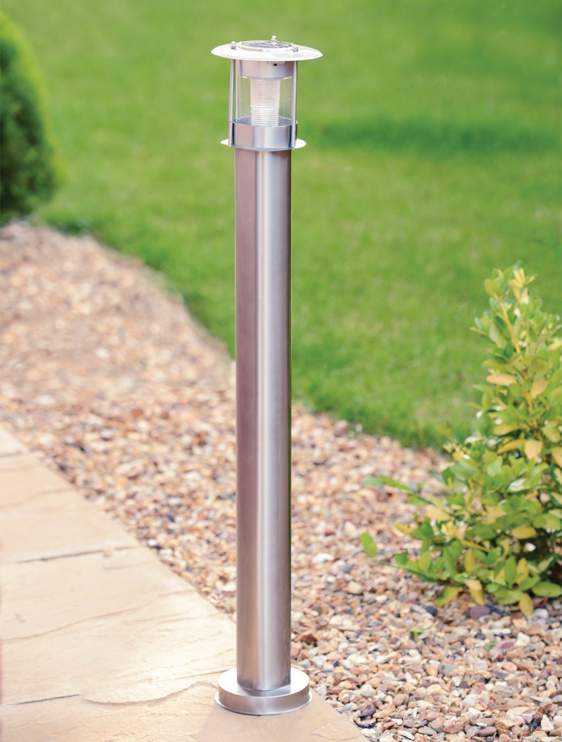 90cm stainless steel outdoor patio driveway garden led solar lamp post. Black Bedroom Furniture Sets. Home Design Ideas