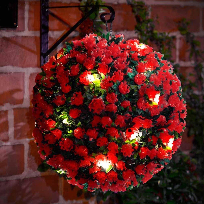 New 20 led 28cm solar flower rose topiary hanging garden for Hanging garden ornaments
