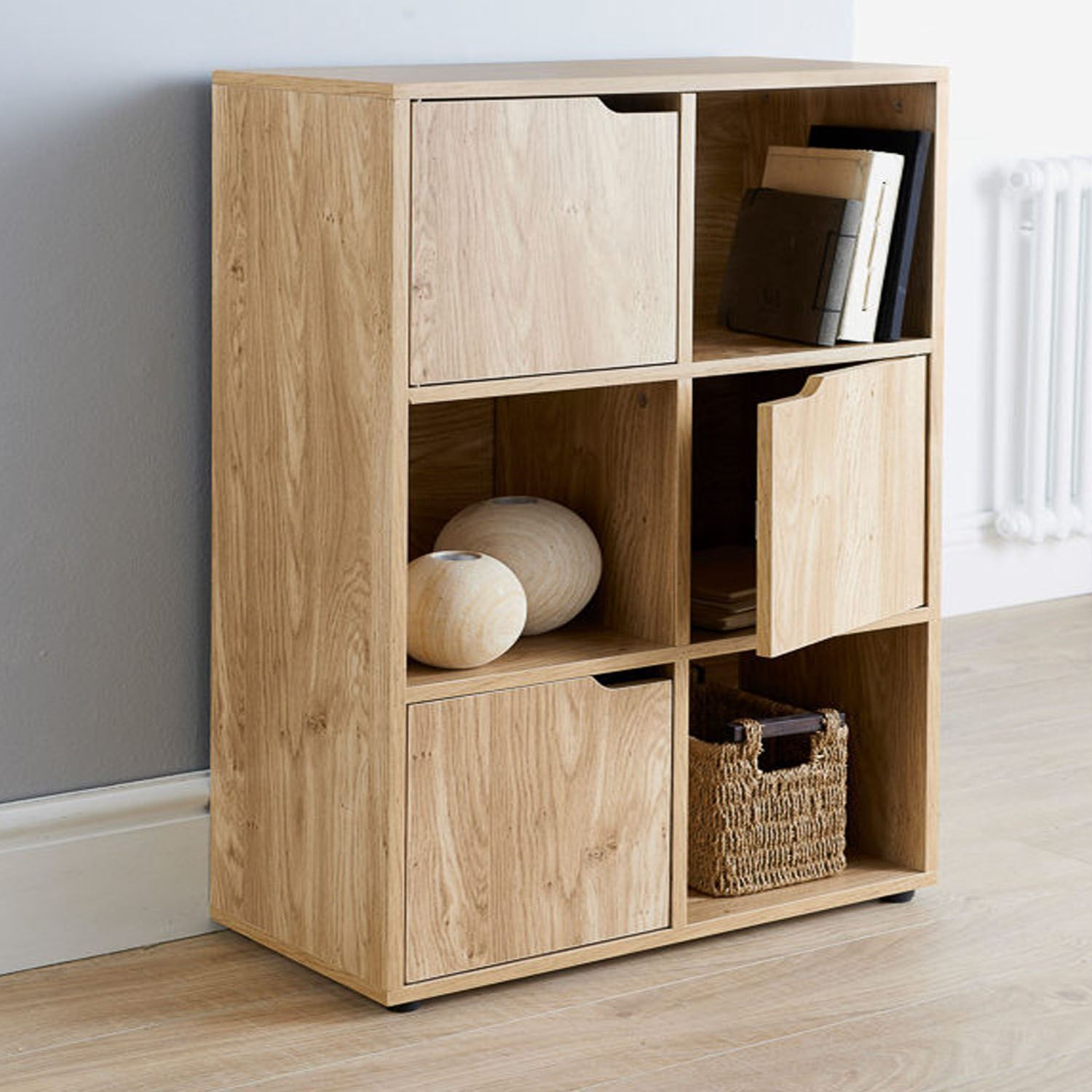 Oak finish cube door wooden storage unit display