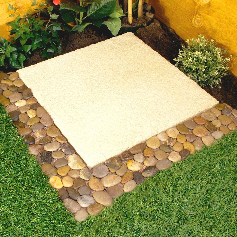 Lawn edging stone pebble border plant garden bathroom wall for Pebble garden designs