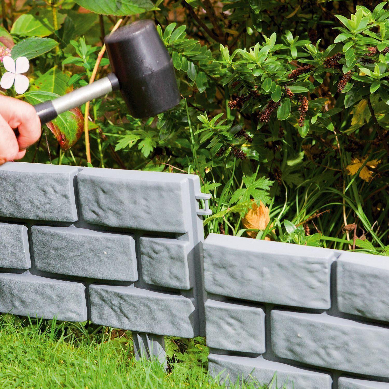 Pack Of 4 Diy Brick Effect Garden Patio Walkway Plastic Border Edging Grey Ebay