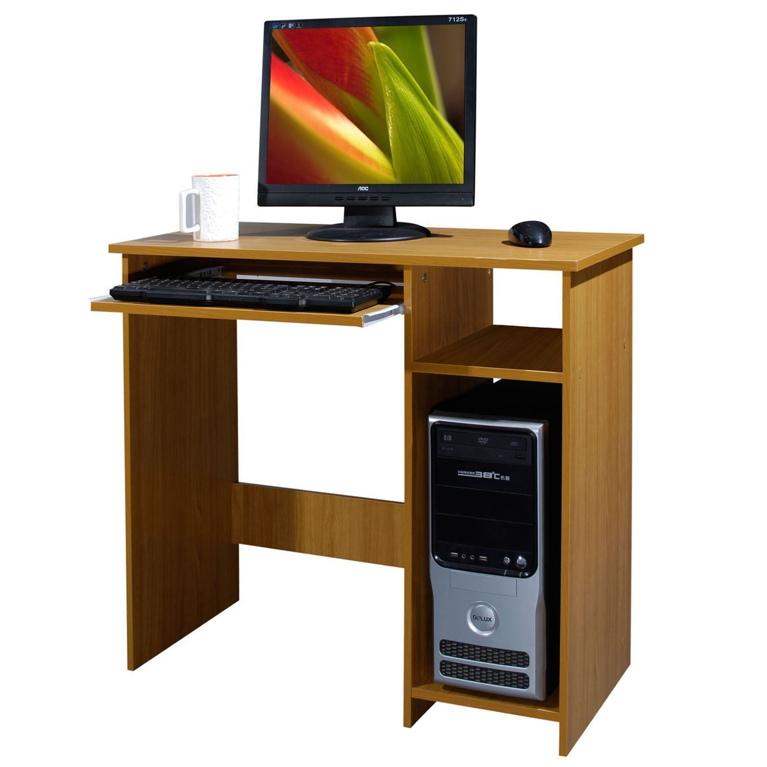 wooden computer desk basic home office table workstation. Black Bedroom Furniture Sets. Home Design Ideas