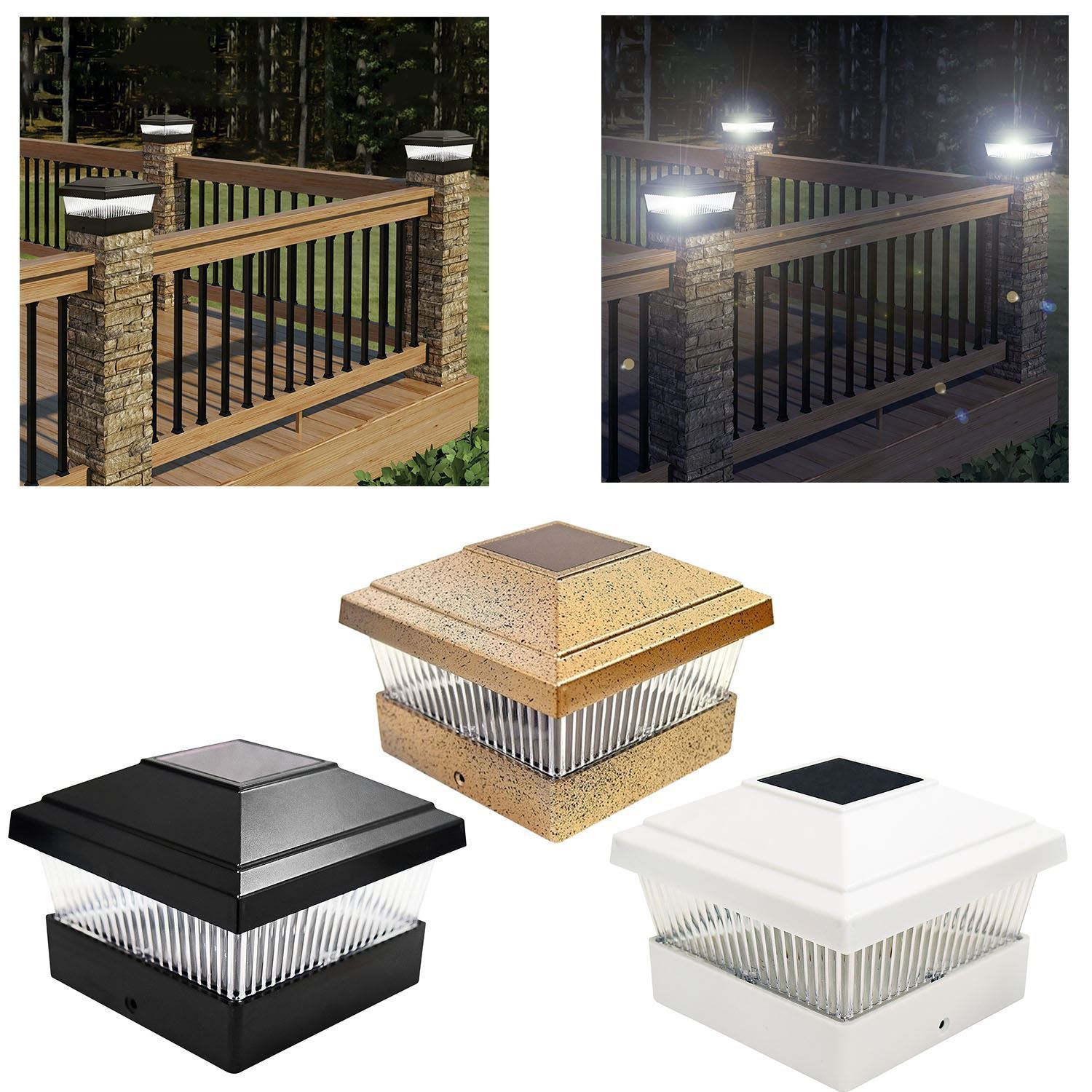 Black Bronze White Led Outdoor Garden Post Deck Square Cap Fence