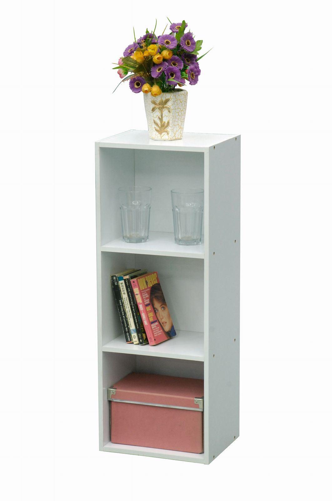 1 2 3 4 tier white wooden bookcase shelf display storage. Black Bedroom Furniture Sets. Home Design Ideas