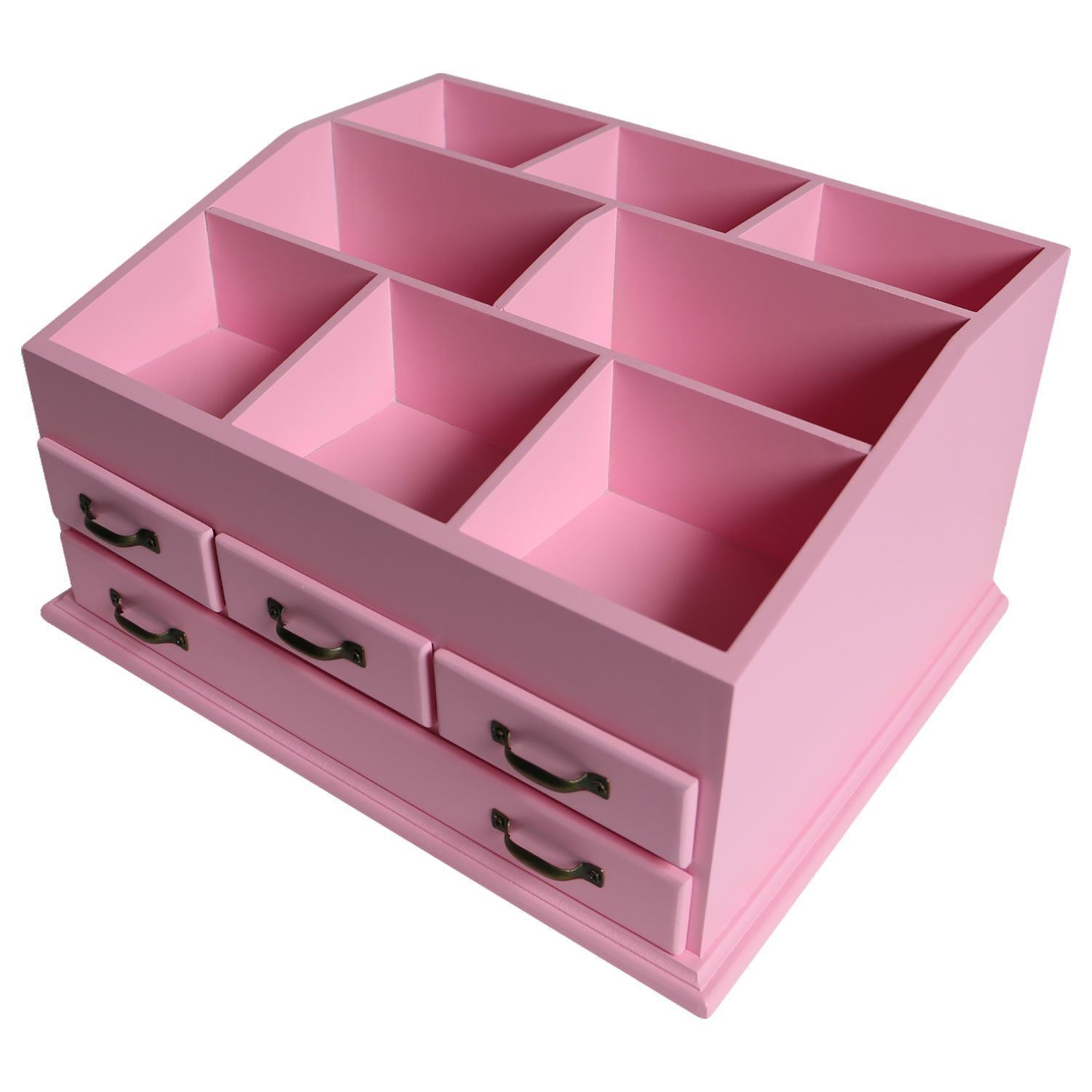 Wooden 4 Drawer Jewellery Large Cosmetic Makeup Storage