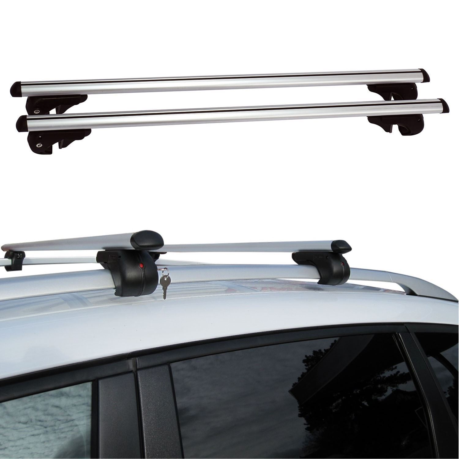 Adjustable 135cm Universal Aluminium Car Roof Bar Rack