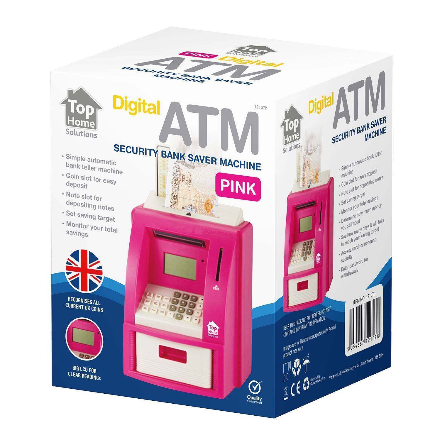 New digital coin atm money counting savings electronic piggy bank pink black ebay - Coin bank that counts money ...