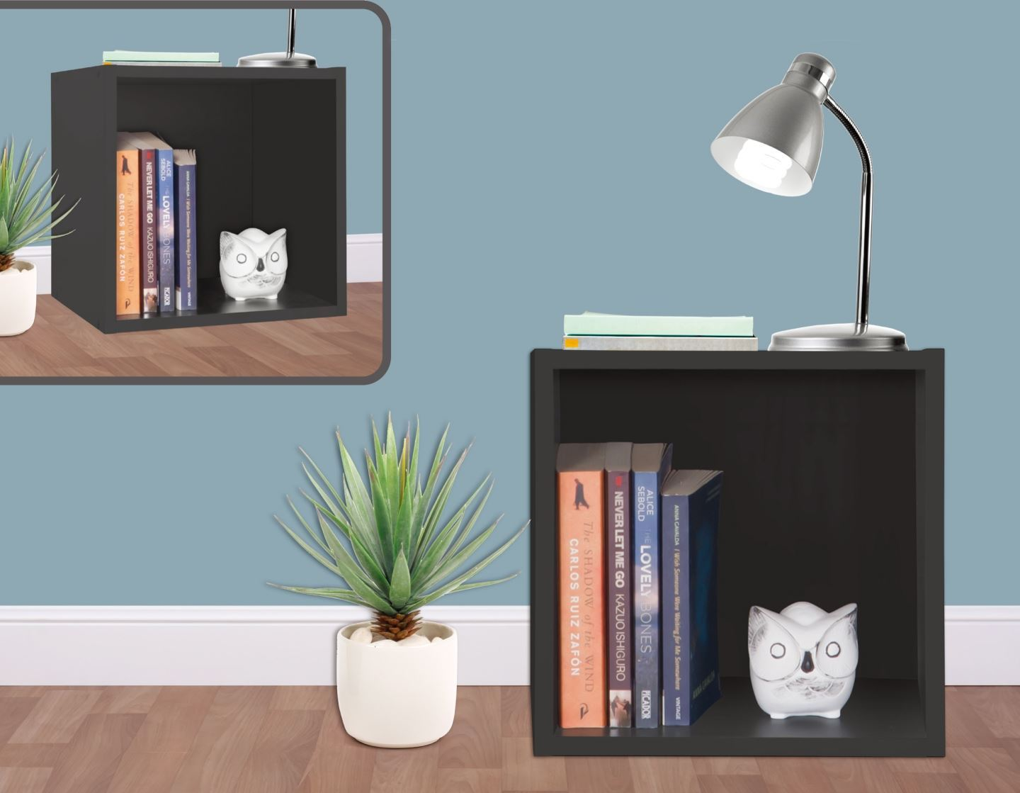 Stackable wooden laminate coloured storage cube unit shelf for Ikea bookends uk