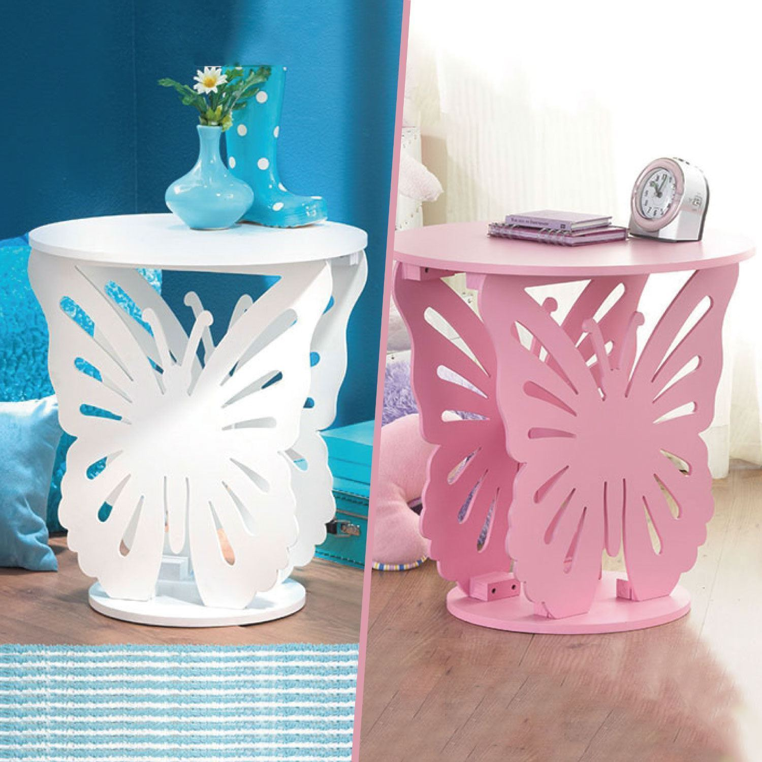 Childrens Kids Wooden Round Butterfly Lamp Bedside Side End Table . Childrens  Butterfly Bedroom Accessories ...