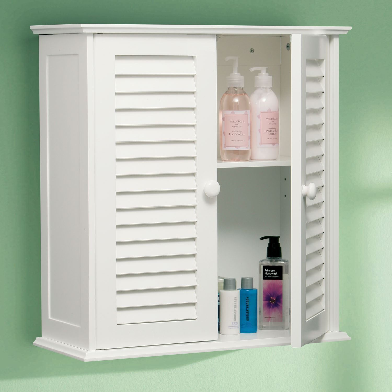 White Wooden Double Slatted Shutter Door Wall Bathroom