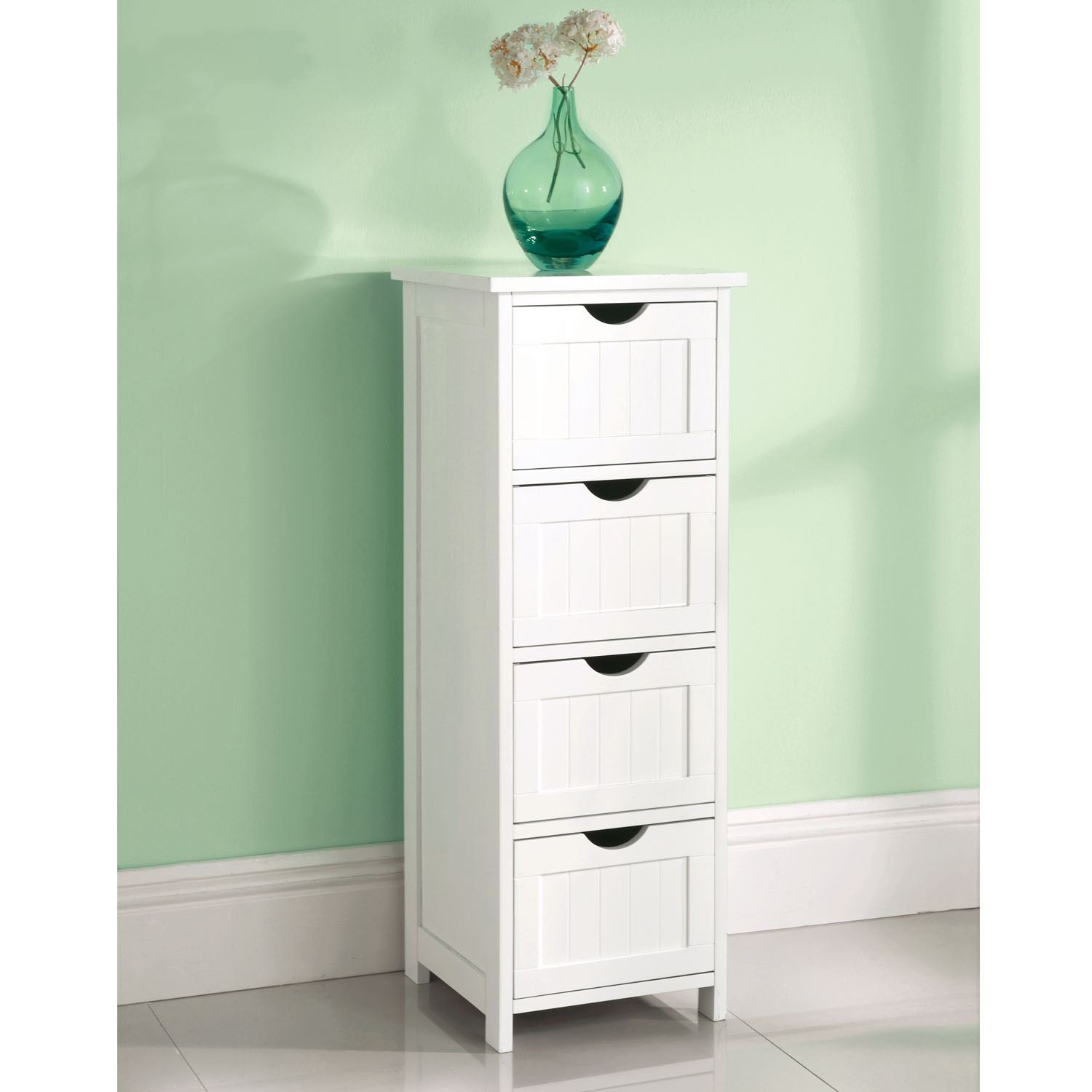 WHITE WOODEN 4 DRAWER FREE STANDING BATHROOM CABINET SHELF