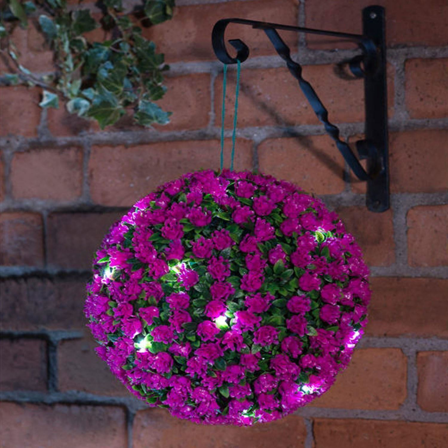 New 20 led 28cm solar flower rose topiary hanging garden for Flower garden ornaments