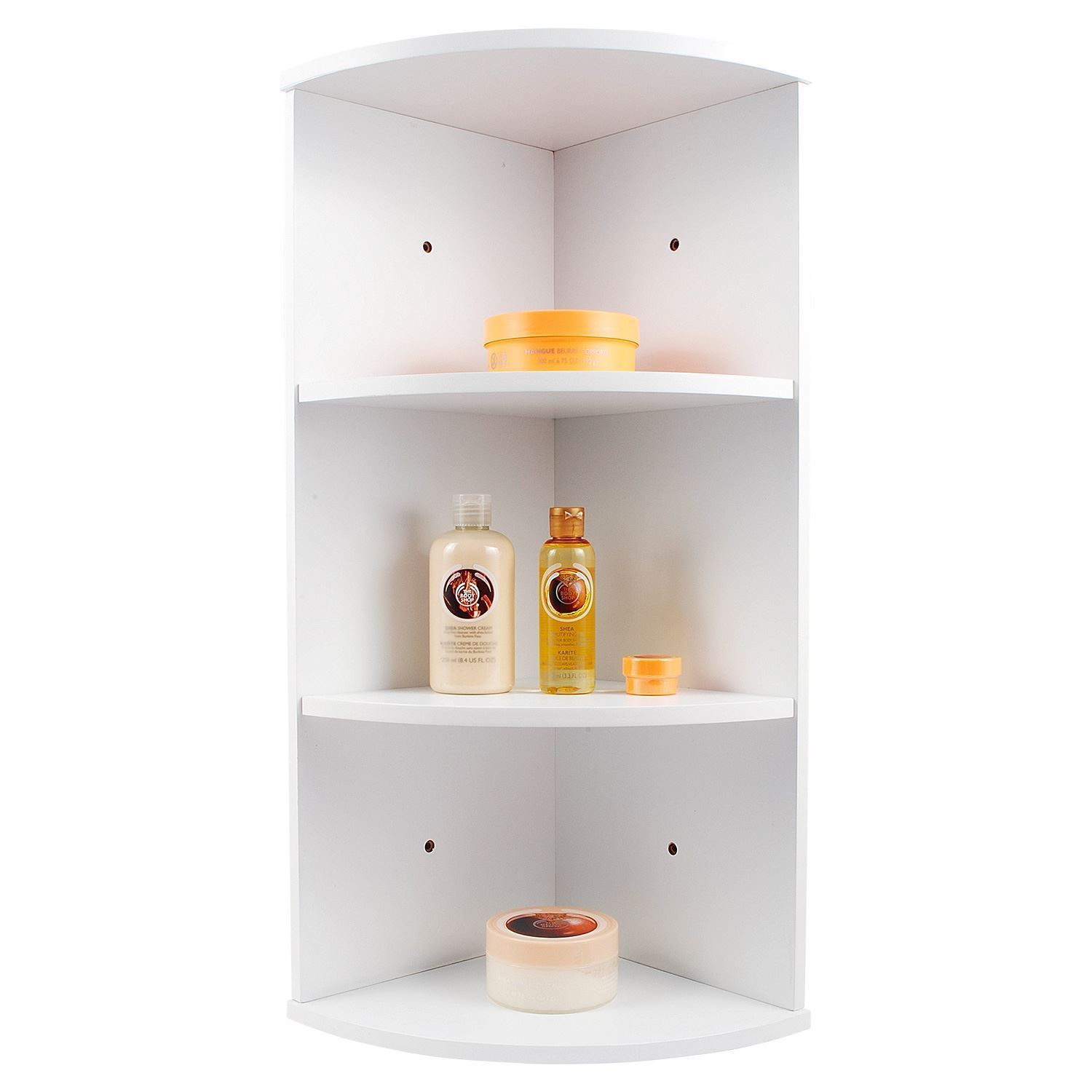 Whiite Wooden 3 Tier Corner Wall Mounted Bathroom Storage
