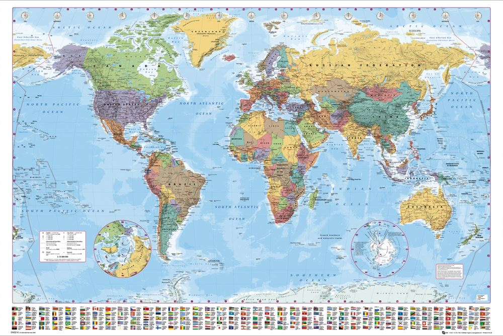 grande carte du monde poster affiche murale avec drapeaux. Black Bedroom Furniture Sets. Home Design Ideas