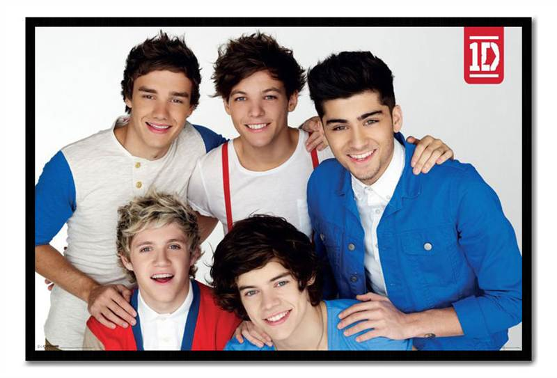 Framed-One-Direction-Red-White-amp-Blue-Poster-Ready-To-Hang-Frame