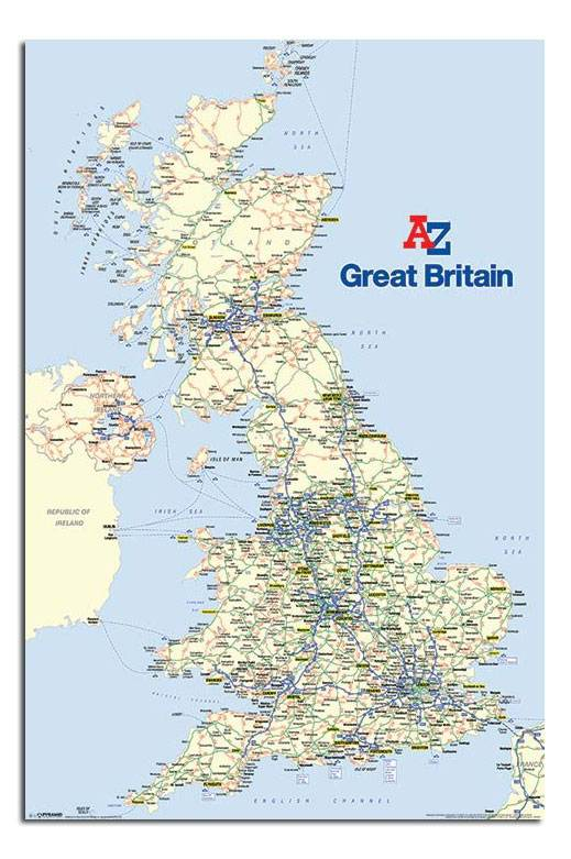 A Z Great Britain Uk Large Map Wall Chart Poster New